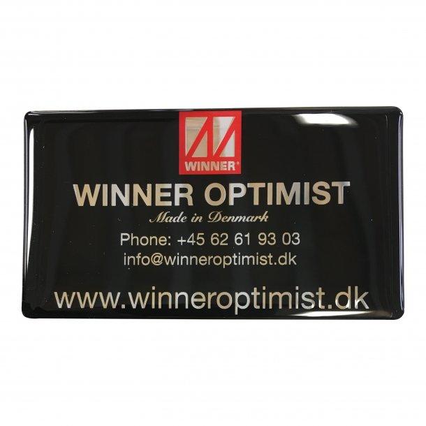 Winner Logo Plate 3D, Black 45*81mm