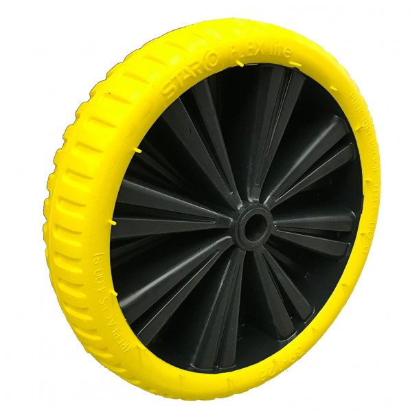 Optiflex-lite puncture proof wheel YELLOW tire with black rim/ Punkter-fri hjul GUL dæk/ sort fælg